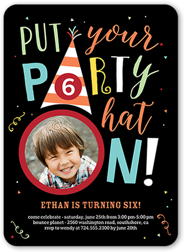 Party Hat Boy Birthday Invitation, Rounded Corners