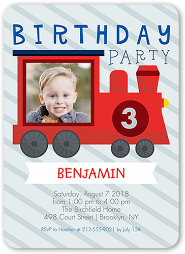 Celebration Train Birthday Invitation, Rounded Corners