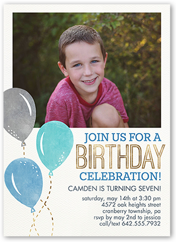 Balloon Celebration Boy Birthday Invitation, Square Corners