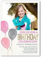 balloon celebration girl birthday invitation 5x7 flat