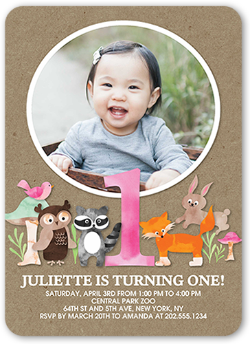 Animal Festivities Girl Birthday Invitation, Rounded Corners