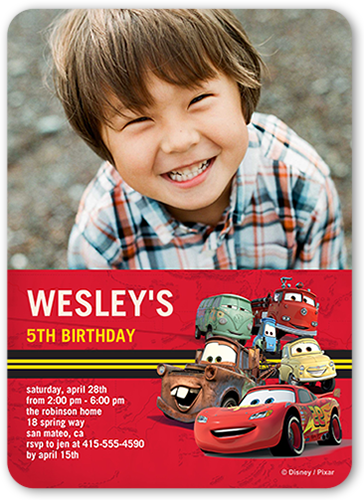 Disney-Pixar Cars Racetrack Birthday Invitation, Rounded Corners