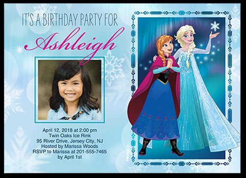 Disney Frozen Bokeh Snowflakes Birthday Invitation, Square Corners