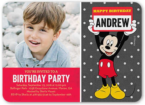 Disney Mickey Mouse Name Birthday Invitation, Rounded Corners