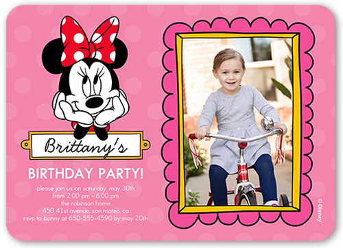 Disney Minnie Mouse Dots Birthday Invitation, Rounded Corners