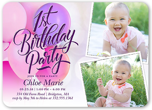 Textured Balloons Girl Birthday Invitation, Square