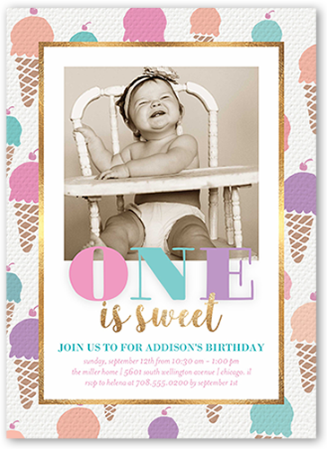 Ice Cream Border Birthday Invitation 5x7 Flat