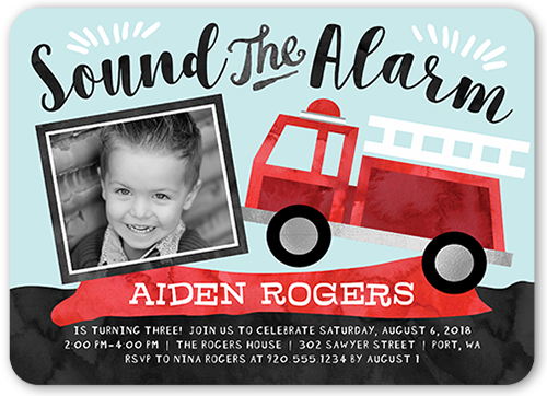 Party Alarm Birthday Invitation, Rounded Corners