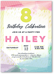 Watercolor Festivities Birthday Invitation 5x7 Flat