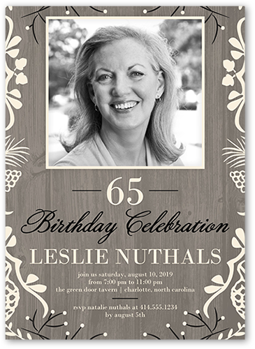 Elegant Framed Foliage Birthday Invitation, Square Corners