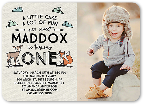 Woodland Fun Boy Birthday Invitation, Rounded Corners