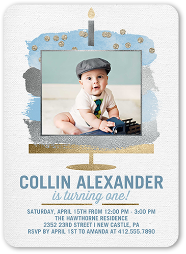 Cake Celebration Boy Birthday Invitation, Rounded Corners