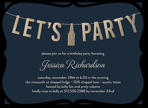Chic Letter Celebration Birthday Invitation, Bracket Corners