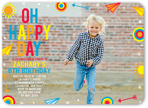 Bold Happy Day Birthday Invitation 5x7 Flat