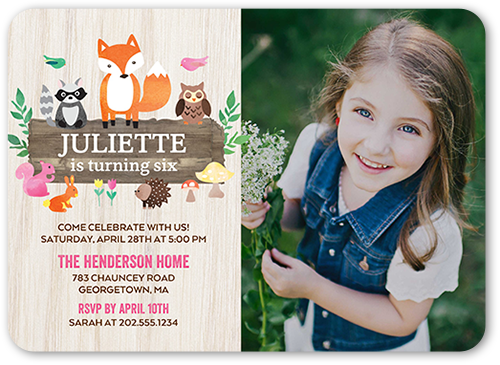 Woodland Wishes Girl Birthday Invitation, Rounded Corners