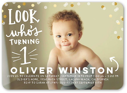 Look and Celebrate Birthday Invitation, Rounded Corners
