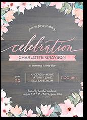 elegant woodgrain birthday invitation 5x7 flat