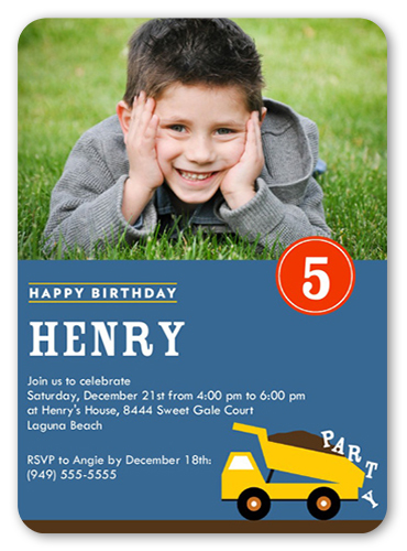 Truckload Of Fun Birthday Invitation, Rounded Corners