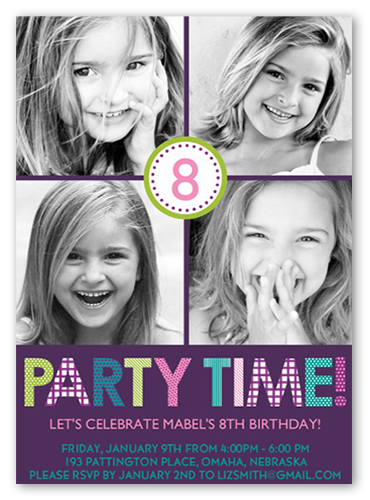 Playful Prints Purple Birthday Invitation