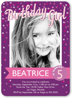 confetti girl birthday invitation 5x7 flat