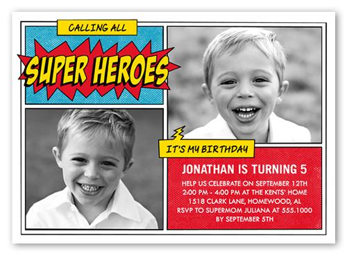 Super Hero Celebration Birthday Invitation