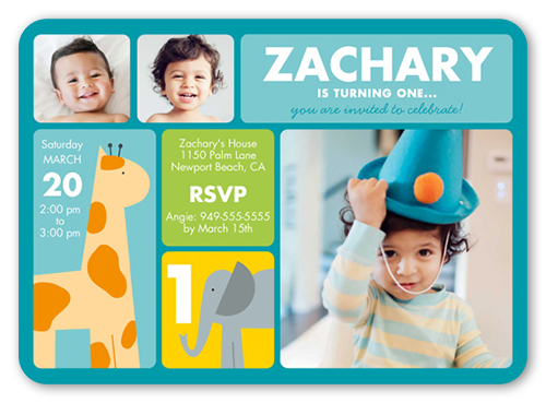 Little Safari Boy Birthday Invitation, Square