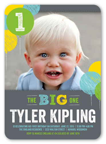 chalk balloons boy first birthday invitation shutterfly