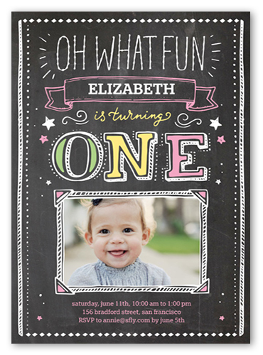 Oh What Fun Girl Birthday Invitation, Square Corners
