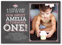 little cake girl birthday invitation 5x7 flat