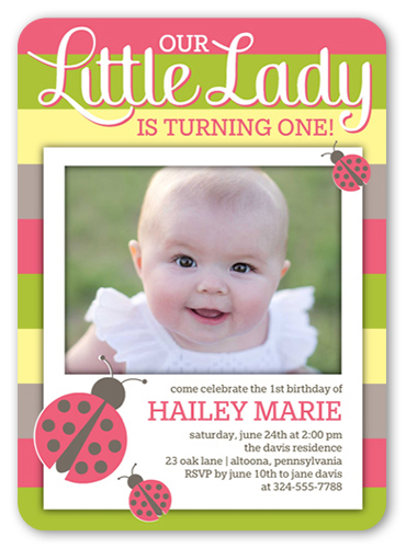 Ladybug Stripes Birthday Invitation, Rounded Corners
