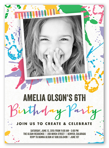 Paint Splash Bash Birthday Invitation