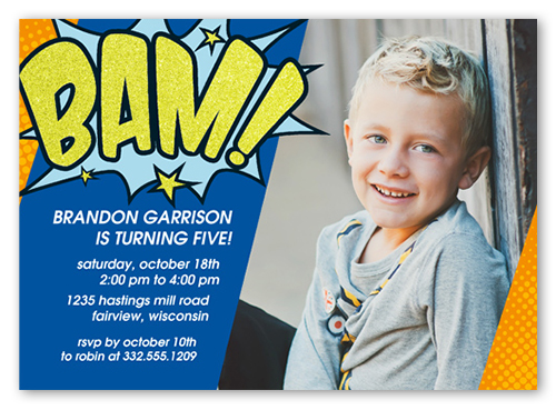 Super Hero Bam 5x7 Custom Invitation Birthday Boy Invitations