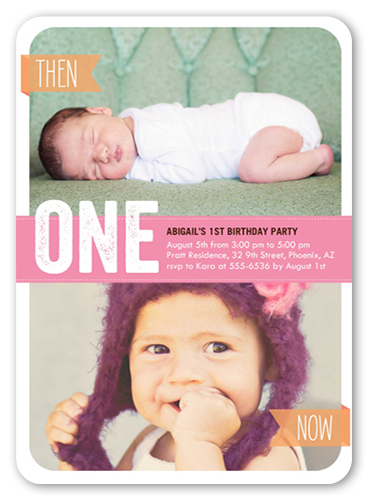 Now She's One Birthday Invitation, Rounded Corners