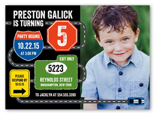 Traffic Signs 5x7 Boy Birthday Invitation Shutterfly