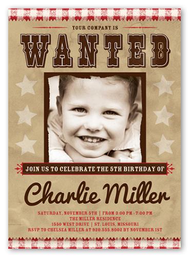 Wanted Sign Birthday Invitation, Square Corners