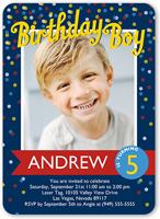 Confetti Boy Birthday Invitation 5x7 Flat