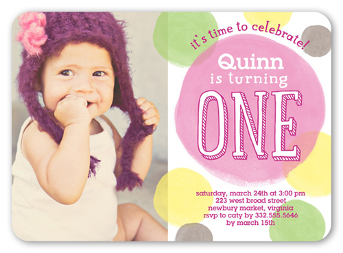 Colorful Dots Girl 5x7 Invitation Card – 3 Year Old Birthday Invitation