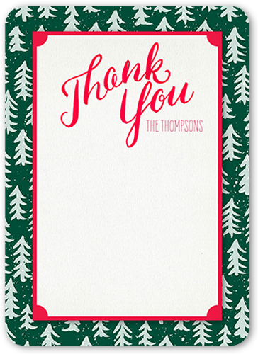 Frosted Tree Thanks Thank You Card, Rounded Corners