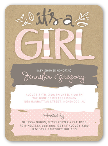... Girl Baby Shower Invitation. Visible Part Transiotion Part. FRONT