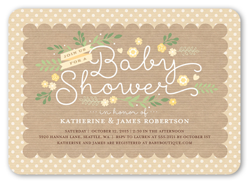Lovely Scallop Baby Shower Invitation, Rounded Corners