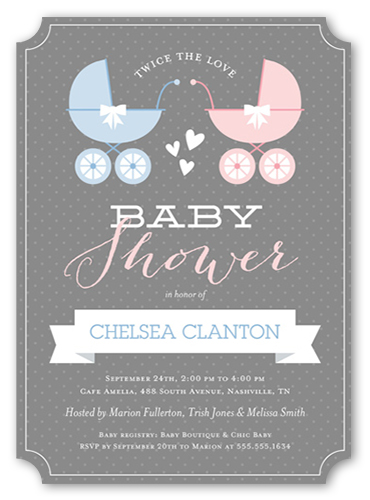 buggy and banner twins baby shower invitation ticket corners