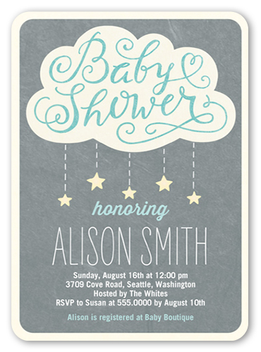 Showering Stars Boy Baby Shower Invitation, Rounded Corners