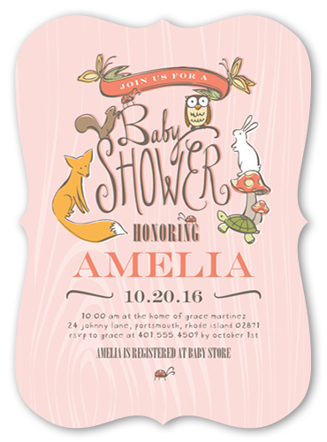 Woodland Party Girl Baby Shower Invitation, Bracket Corners