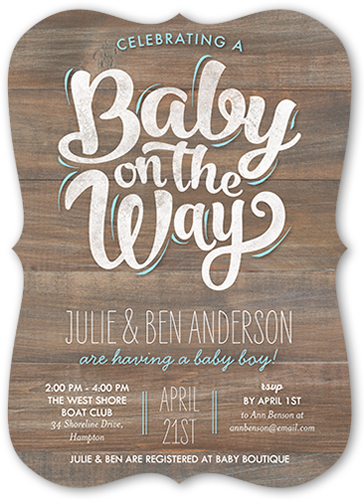 Baby Boy On The Way 5x7 Baby Shower Invitation Cards