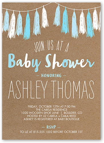Tassel Shower 5x7 Boy Baby Shower Invitation by Float Paperie