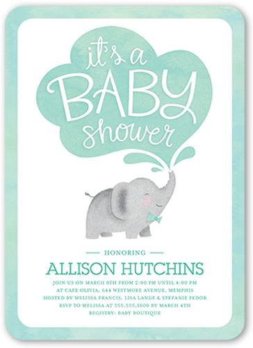 Little Elephant Boy 5x7 Greeting Card Baby Shower Invitations