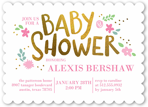 Floral Arrival Girl Baby Shower Invitation, Scallop Corners