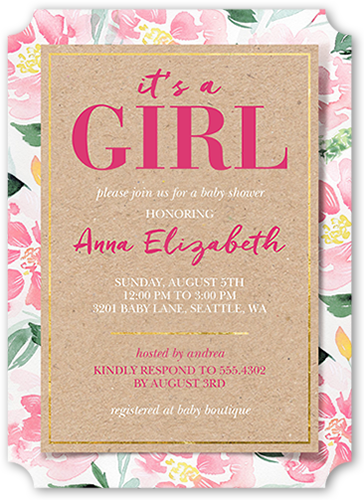 Floral Girl Baby Shower Invitation, Ticket Corners