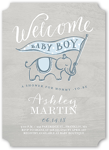 Woodgrain Welcome Boy Baby Shower Invitation, Ticket Corners