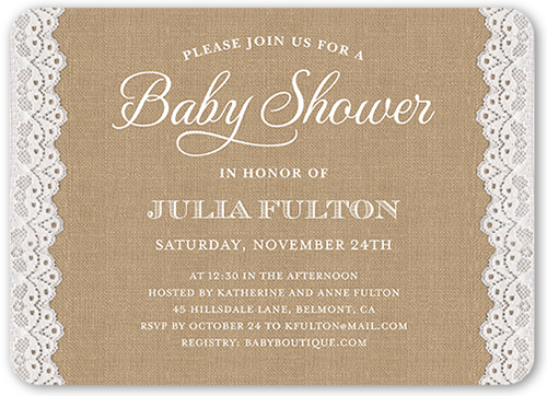 Laced Celebration Baby Shower Invitation, Rounded Corners